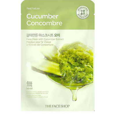 Тканевая маска для лица с экстрактом огурца Real Nature Cucumber Face Mask, THE FACE SHOP   20 г